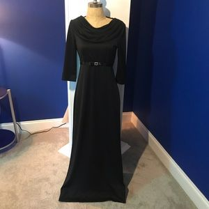 Formal Black Choir Dress with Cowl Neck